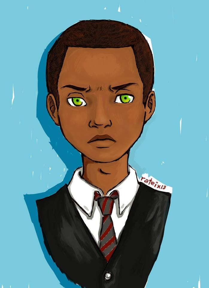 O personagem Hugo Escarlate, ilustrado pela leitora Raquel Teixeira.